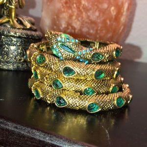 Jewelry - Gold & turquoise snake bracelet
